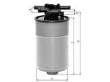 Топливный фильтр  Фильтр топливный AUDI A4/A6/A8 2.5TDI 7/97-  Высота [мм]: 139,25 Высота [мм]: 169,15 диаметр 2 (мм): 12 Внешний диаметр [мм]: 80
