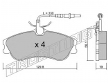 Комплект тормозных колодок, дисковый тормоз  Колодки тормозные дисковые передние  Тормозная система: Lucas - Girling Ширина (мм): 129,8 Высота [мм]: 56,1 Толщина [мм]: 19 Датчик износа: вкл. датчик износа проверочное значение: ECE R90 APPROVED