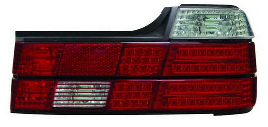 BMW E32 Фонарь задний внешний левый+правый (комплект) тюнинг с прозрачными диодными габаритами, стоп сигналы красно-белые хрусталь на BMW e32 (БМВ е32) - цена, наличие, описание