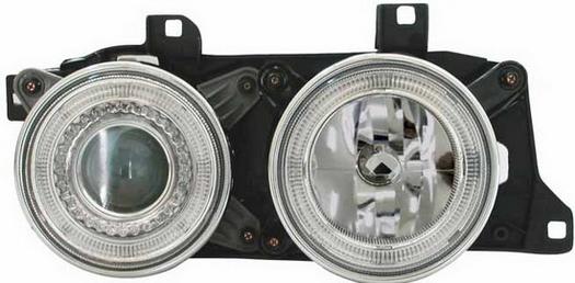 BMW E34 {E32} Фара левая+правая (комплект) тюнинг с 2 светящимися ободками в сборе (ангельские глазки) (DEPO) на BMW e34 (БМВ е34) - цена, наличие, описание