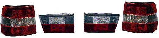BMW E34 Фонарь задний внешний+внутренний левый+правый (комплект) (СЕДАН) тюнинг прозрачный хрустальный красный-белый на BMW e34 (БМВ е34) - цена, наличие, описание