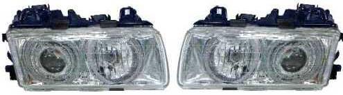 BMW E36 Фара левая+правая (комплект) тюнинг прозрачная со светящимися ободками внутри хром (ангельские глазки) на BMW e36 (БМВ е36) - цена, наличие, описание