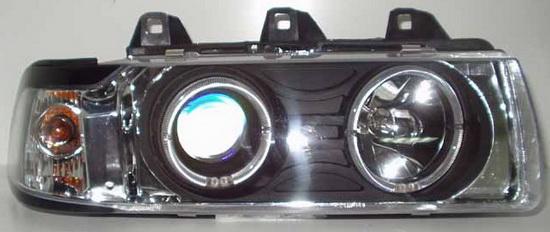 BMW E36 Фара + указатель поворота левая+правая (комплект) литой (СЕДАН) (compact) тюнинг прозрачная со светящимися ободками (ангельские глаки) внутри хром на BMW e36 (БМВ е36) - цена, наличие, описание