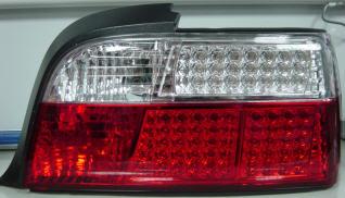 BMW E36 Фонарь задний внешний левый+правый (КОМПЛЕКТ) (КУПЕ) (кабриолет) диодный стоп-сигнал, указатель поворота храстальный красно-белый на BMW e36 (БМВ е36) - цена, наличие, описание