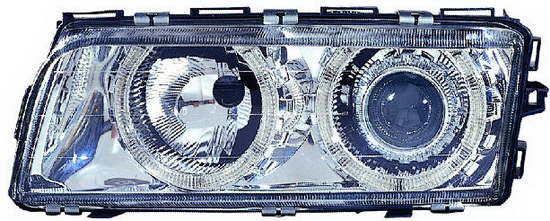 BMW E38 Фара левая+правая (КОМПЛЕКТ) (КСЕНОН) С -D1S- с блоком управления ксеноном -PHILIPS с рег. мотор тюнинг линзованные с 2 светящимися ободками внутри (ангельские глакзи) внутри хром на BMW e38 (БМВ е38) - цена, наличие, описание
