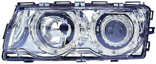 BMW E38 Фара левая+правая (КОМПЛЕКТ) с рег. мотор. тюнинг линзован с 2 светящимися ободками внутри (ангельские глазки) внутри хром на BMW e38 (БМВ е38) - цена, наличие, описание