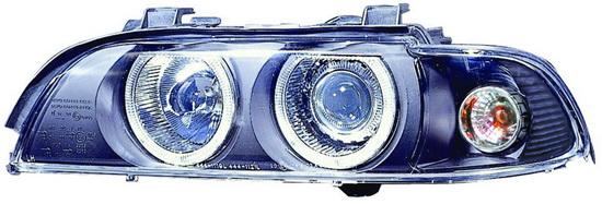 BMW E39 Фара левая+правая (комплект) тюнинг со светящимися ободками (ангельские глазки) с хрустальным указатель поворота с рег.мотор внутри черная на BMW e39 (БМВ е39) - цена, наличие, описание