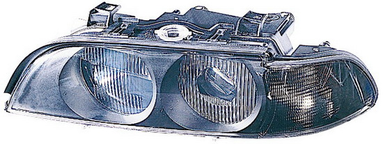 BMW E39 {HB3/HB4} Фара левая (DEPO) линзованная с рег. мотор, белый указатель поворота на BMW e39 (БМВ е39) - цена, наличие, описание