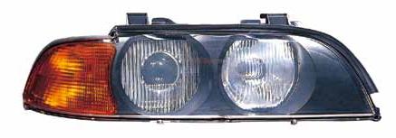 BMW E39 {HB3/HB4} Фара правая (DEPO) линзованная с рег. мотор, желтый указатель поворота на BMW e39 (БМВ е39) - цена, наличие, описание