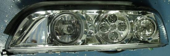 BMW E39 Фара левая+правая (комплект) тюнинг со светящимися ободками (ангельские глазки) с диод ближн света с белым указателем поворота внутри хром на BMW e39 (БМВ е39) - цена, наличие, описание