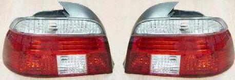 BMW E39 {дизайн под  LED} Задний внешний фонарь левый+правый (КОМПЛЕКТ), прозрачный, хрустальный красно-белый на BMW e39 (БМВ е39) - цена, наличие, описание