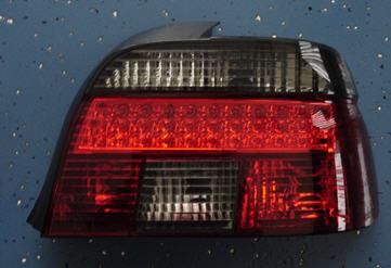 BMW E39 Задний внешний фонарь левый+правый (комплект) с диодными габаритами, прозрачный хрустальный красно-тонированный на BMW e39 (БМВ е39) - цена, наличие, описание