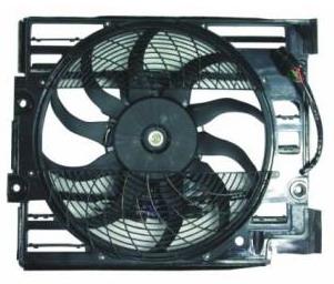 BMW E39 Электро-вентилятор радиатора кондиционера (мотор + вентилятор конденсатора кондиционера с корпусом, 4 штекер) на BMW e39 (БМВ е39) - цена, наличие, описание