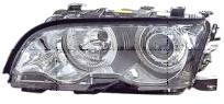 BMW E46 Фара левая+правая (комплекс) с светящимися ободками (ангельскими глазками) с рег. мотором внутри хром на BMW e46 (БМВ е46) - цена, наличие, описание
