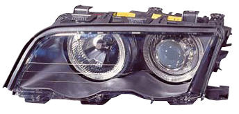 BMW E46 Фара левая+правая (КОМПЛЕКТ) (СЕДАН) (КСЕНОН) -D2S- с блоком управл. ксеноном с 2 светящимися ободками (ангельские глазки) с рег.мотором внутри черная на BMW e46 (БМВ е46) - цена, наличие, описание