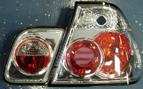 BMW E46 фонарь задний внешний+внутренний левый+правый (КОМПЛЕКТ) (СЕДАН) тюнинг (LEXUS ТИП) прозрачный внутри хром на BMW e46 (БМВ е46) - цена, наличие, описание