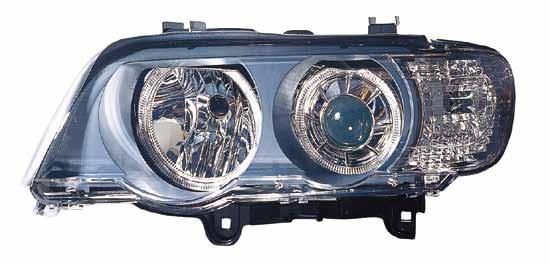 BMW X5 Фара левая+правая (комплект) тюнинг со светящимися ободками (ангельские глазки), линзованная, внутри хром на BMW e53 X5 (БМВ е53 х5) - цена, наличие, описание