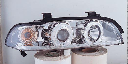 BMW E39 Фара левая+правая (комплект), тюнинг, линзованная, со светящимися ободками (ангельские глазки), с рег.мотор. на BMW e39 (БМВ е39) - цена, наличие, описание