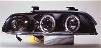 BMW E39 Фара левая+правая (комплект), тюнинг, линзованная, со светящимися ободками (ангельские глазки), с рег.мотор., внутри черная на BMW e39 (БМВ е39) - цена, наличие, описание
