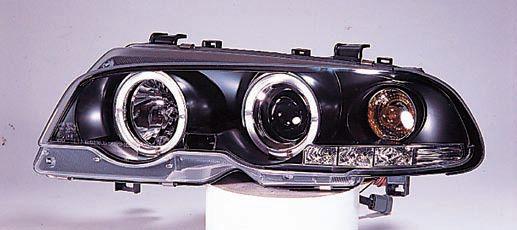 BMW E46 КУПЕ ФАРА Л+П (КОМПЛЕКТ) ТЮНИНГ ЛИНЗОВАН С 2 СВЕТЯЩ ОБОДК , ЛИТОЙ УК.ПОВОР (SONAR) ВНУТРИ ЧЕРН на BMW e46 (БМВ е46) - цена, наличие, описание