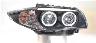 BMW Фара левая+правыя (комплект), тюнинг, линзованная, с 2 святящимися ободками (ангельские глазки), внутри черная на BMW e87 1-er (БМВ е87) - цена, наличие, описание
