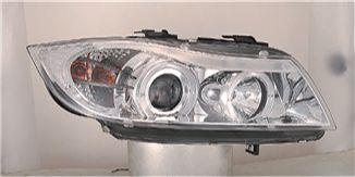BMW E90 Фара левая+правая (комплект), тюнинг, линзованная, с 2 святящимися ободками внутри (ангельские глазки), хром на BMW e90, e91, e92 (БМВ е90, е91, е92) - цена, наличие, описание