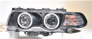 BMW E38 Фара левая+правая (комплект). Тюнинг, ксенон, линзованная, с 2-мя светящимися ободками (ангельские глазки), литой указатель поворота, с рег. мотор (SONAR), черные на BMW e38 (БМВ е38) - цена, наличие, описание