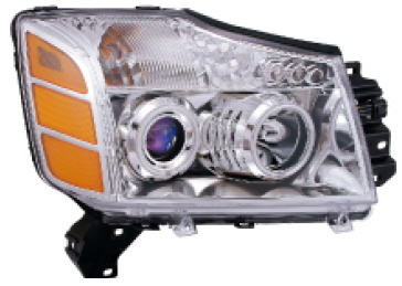 ARMADA ФАРА Л+П (КОМПЛЕКТ) ТЮНИНГ ЛИНЗОВАН С СВЕТЯЩ ОБОДК ДИОД ВНУТРИ ХРОМ на Nissan Armada, Titan - цена, наличие, описание