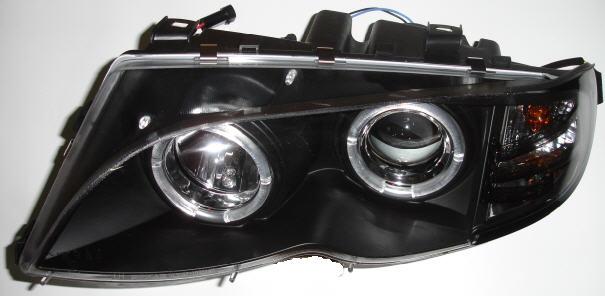 BMW E46 ФАРА Л+П (КОМПЛЕКТ) ТЮНИНГ ЛИНЗОВАН С 2 СВЕТЯЩ ОБОДК (SONAR) ВНУТРИ ЧЕРН на BMW e46 (БМВ е46) - цена, наличие, описание