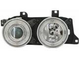E34 {E32} Фара левая+правая (комплект) тюнинг с 2 светящимися ободками в сборе (ангельские глазки) (DEPO)